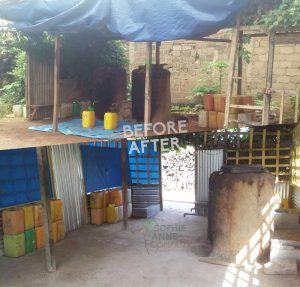 A before and after look of Sophie Anne Company's processing plant in N'zerekore, Guinea